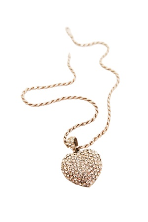 pendant heart-shaped of white gold and diamonds photo