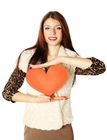 woman holding a heart on Valentine's Day photo