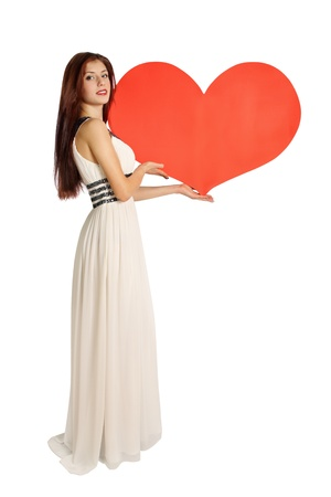 woman holding a heart on Valentines Day photo