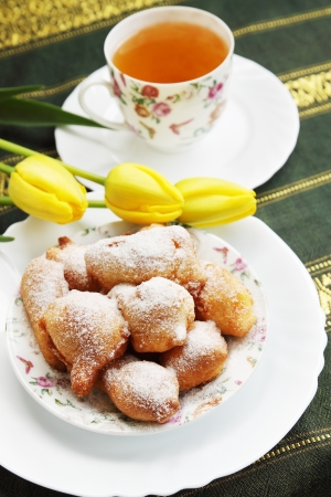 spring breakfast homemade donuts with powdered sugar Stock Photo - 17882945