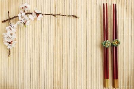 flowering apricot and Chinese sticks on a bamboo stand