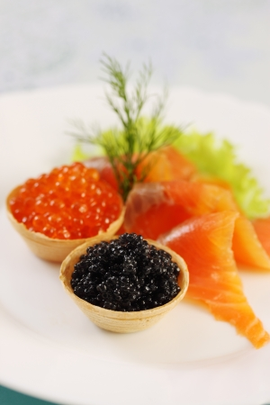 Waffle baskets with caviar and smoked salmon