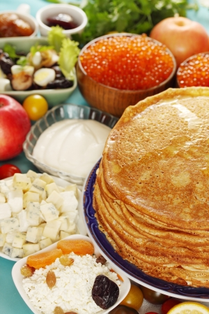 shrove: Pancakes for Shrove stuffed with cottage cheese