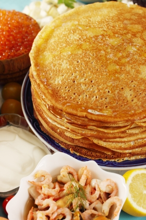 fillings: large stack of pancakes with different fillings