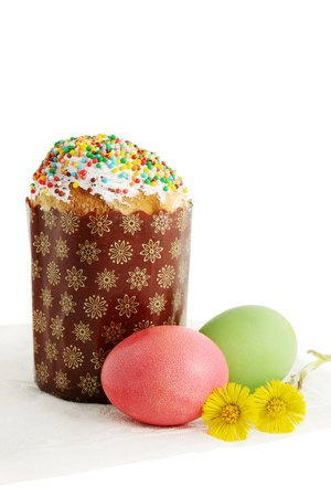 Easter cakes with eggs, festive still life  photo