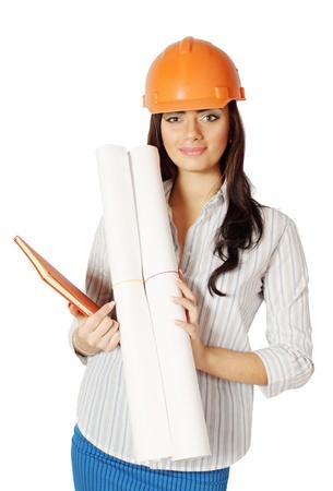 La donna nel casco costruzione con il disegno di lavoro Archivio Fotografico - 19251673