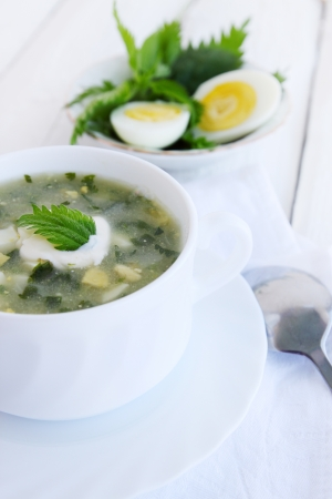 Green borsch with nettles, sorrel and boiled eggs photo
