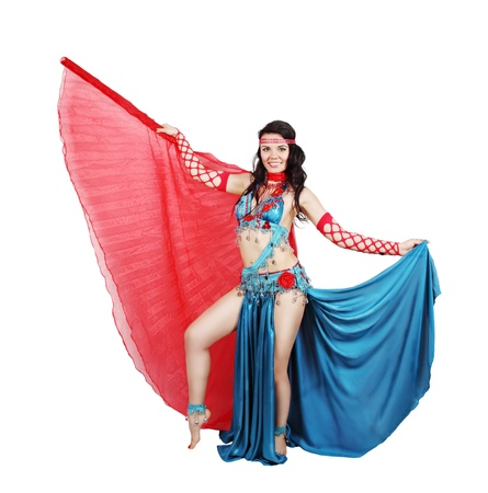 Beautiful dancer in eastern costume with wings photo