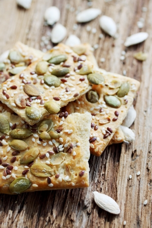 Cookies with pumpkin seeds, flax and sesame seeds