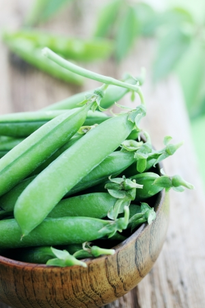 young fresh juicy pods of green peas