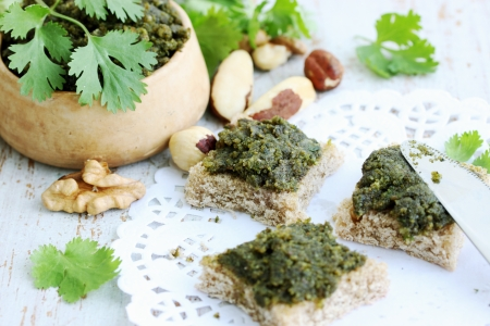 spicy pate of crushed nuts and fresh coriander Archivio Fotografico