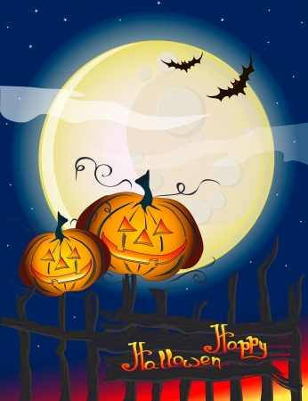 Halloween Illustration with Pumpkins for banners or invite cards Vector