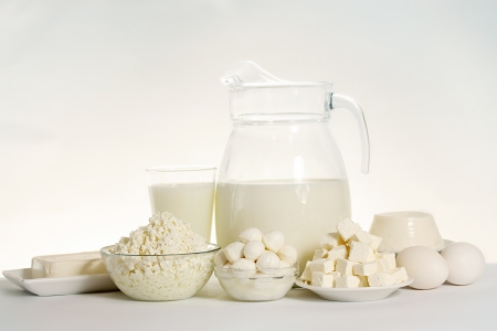 still life of dairy products and soft cheese varieties Stock Photo