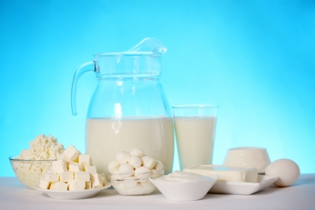 still life of dairy products and soft cheese varieties Archivio Fotografico
