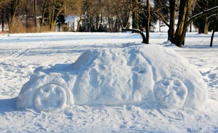 big car out of the snow, winter fun Archivio Fotografico