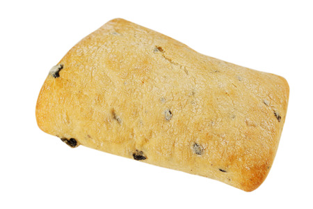 Ruddy ciabatta with olives on a white background photo
