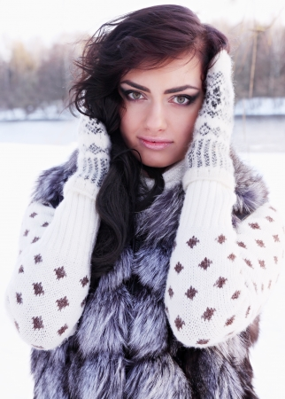 portrait of a woman in a fur vest Archivio Fotografico