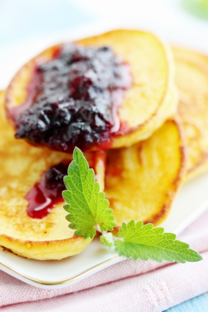 pancakes with mint and black currant jam photo