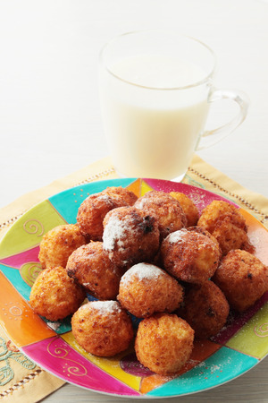 balls deep: of curd cheese balls deep fried with milk Stock Photo