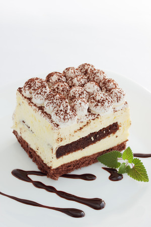 Tasty gentle tiramisu dessert  on the plate