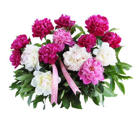 Big beautiful bouquet of peonies isolated on white background photo
