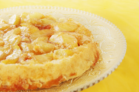Pie with fresh apples and caramel photo