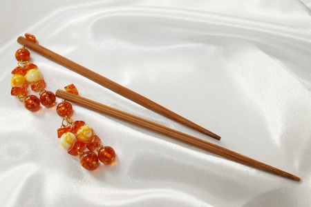 nicety: wooden sticks - barrette for hair with amber