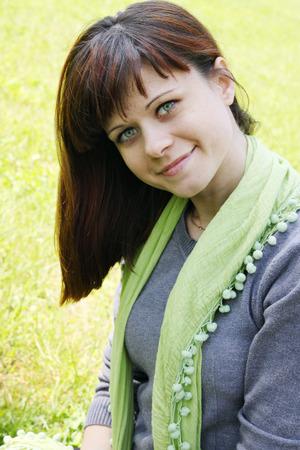 portrait of a beautiful woman on nature photo