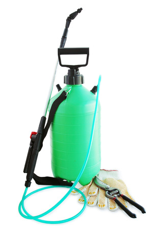 Garden sprayer to kill harmful insects, gloves and secateurs photo
