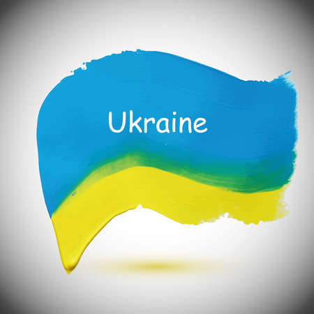 Yellow-blue flag of Ukraine, grunge vector illustration Vettoriali