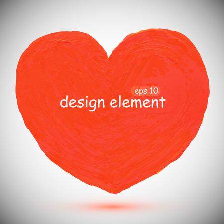 Abstract stylish red  heart, acrylic paint. Vector illustration