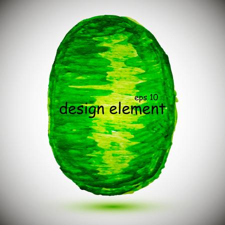 Abstract stylish green geometric figure , acrylic paint. Vector illustration