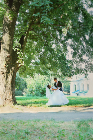 Bride and groom dancing under a big tree photo