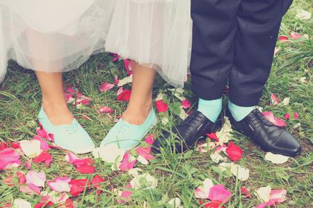moccasins: Legs bridal, groom wearing shoes, brides moccasins