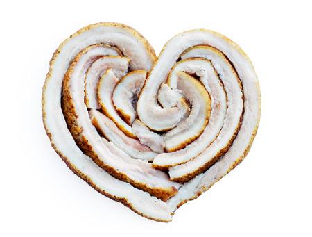 Ukrainian lard  in the form of heart photo
