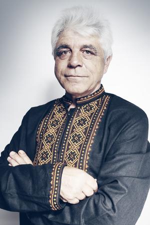 Portrait of a man in the Ukrainian national shirt photo