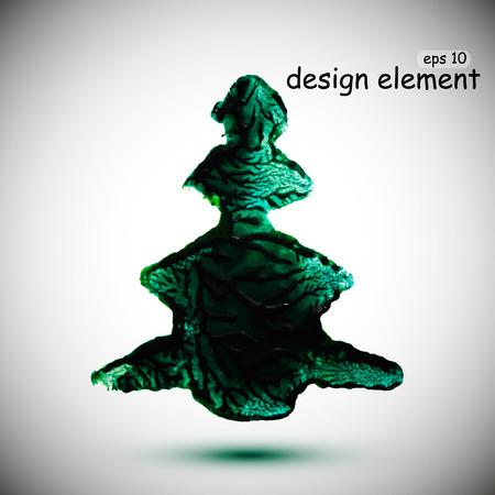Abstract stylish Christmas tree acrylic paint. Vector illustration