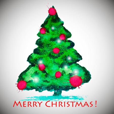 watercolor stylish Christmas tree acrylic paint. Vector illustration