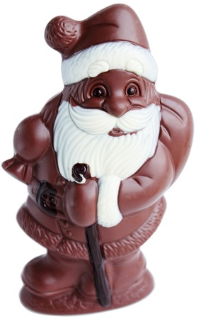 Chocolate Santa Claus with a bag on a white background photo