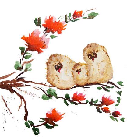 flowering: Three owls on a flowering tree, watercolor painting