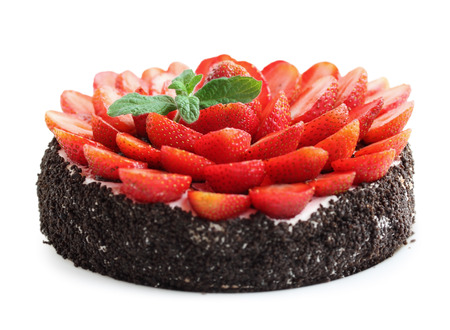 chocolate cake with strawberries and mint, isolated photo