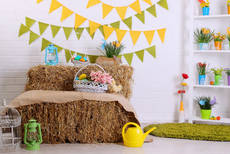 Festive colorful interior with Easter decorations, details