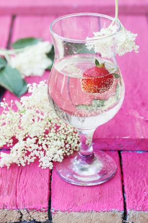 elder tree: Kvass from elder flowers in a glass