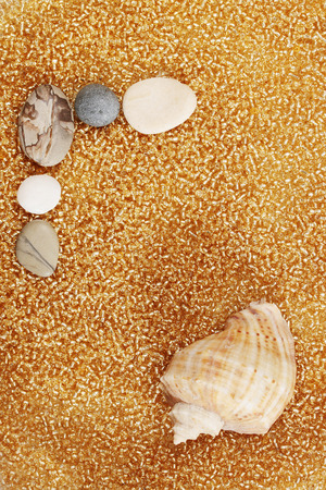 saltwater pearl: Abstract background with sea shells and stones Stock Photo