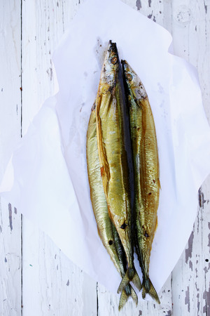 kipper: Oily fish is smoked on paper Stock Photo