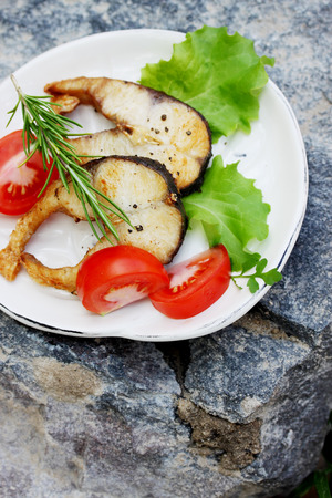 grass carp: Grilled steaks grass carp with spices and herbs