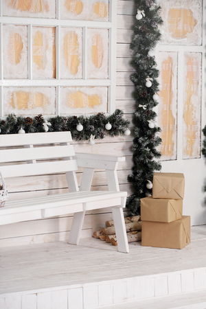 house entrance decorated for holidays. Christmas decoration in white colors