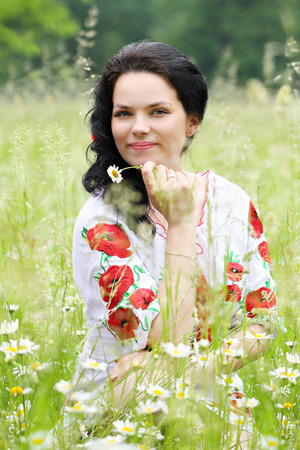 ukrainian ethnicity: Beautiful bride in a dress with embroidery in Ukrainian style