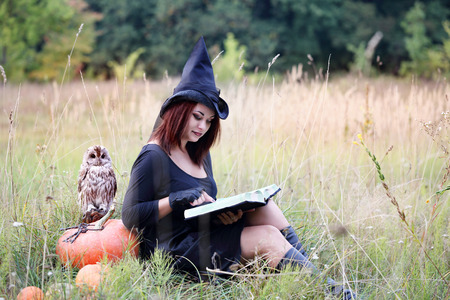 beautiful young witch with a book in grass