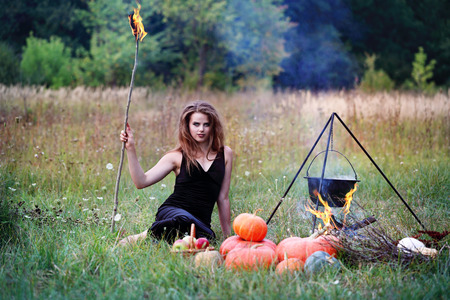 Witch preparing a potion in the meadow Stock Photo